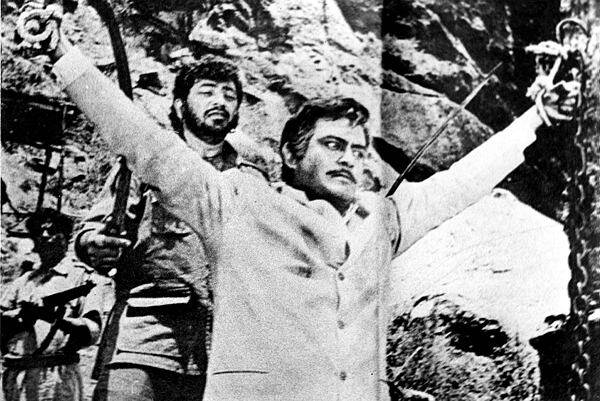 Amjad Khan and actor Sanjeev Kumar in film Sholay