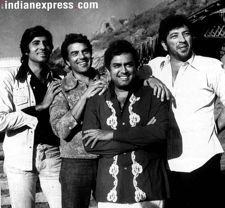 Amitabh Bachchan, Dharmendra, Sanjeev Kumar and Amjad Khan on the sets of Sholay.