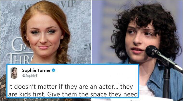 sophie turner, game of thrones, stranger things, Finn Wolfhard, fan calling fin rude, sophie calling out fans, Indian express, Indian express news