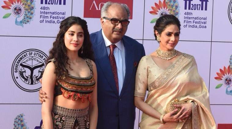 Janhvi turned up with her mother Sridevi and filmmaker Boney Kapoor at the event.
