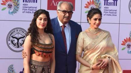 Janhvi Kapoor makes her first appearance post Dhadak debut look, shines with mother Sridevi at IFFI 2017