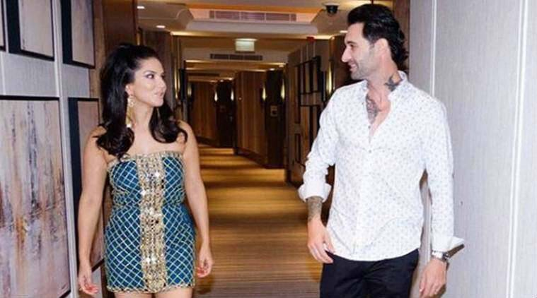 Sunny Leone shares a photo with Daniel Weber.