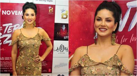 Tera Intezaar promotions: Sunny Leone's floral off-shoulder dress fails to deliver; see pics
