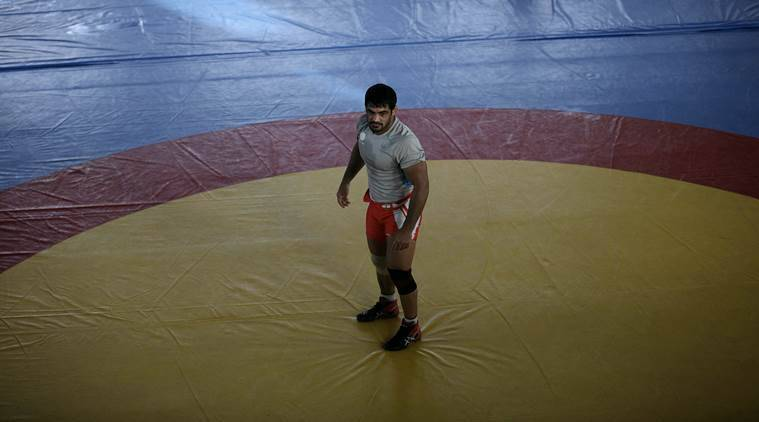 Indian Wrestler Sushil Kumar in practice