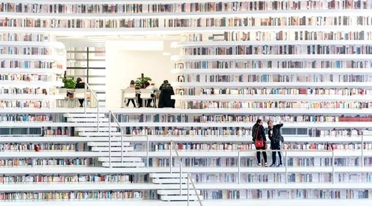 Tianjin Binhai Library, eye shaped library, china library,