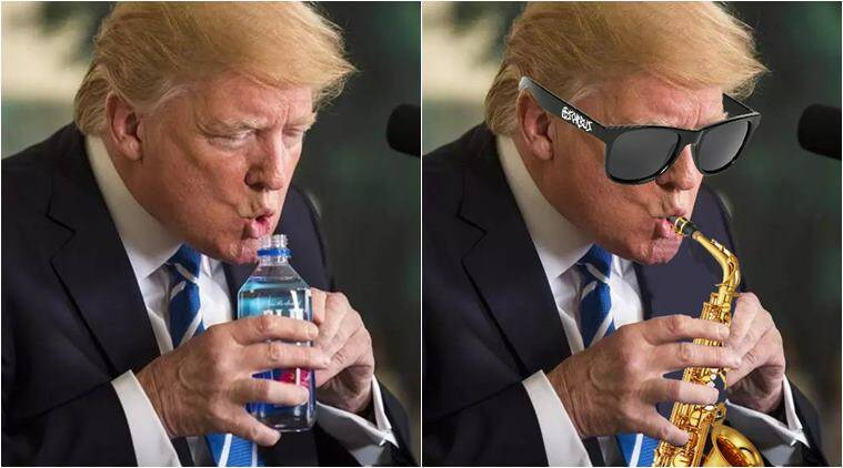 PHOTOS: Donald Trump drinking water from a bottle sets off ...