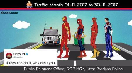 uttar pradesh, up police, up road safety month, up traffic rules tweets, up police comics tweets, traffic rules up police funny tweets, police funny tweets, indian express