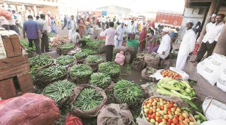 Stocks of vegetables, Fifty of supplies from other state, APMC, Indian Express