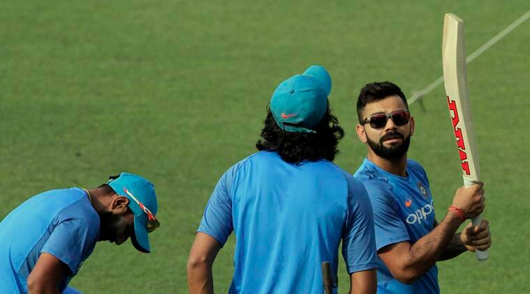 Virat Kohli during a practice session at Eden Gardens