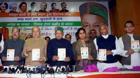 himachal pradesh polls, himachal pradesh assembly elections, virbhadra singh,  himachal congress, himachal congress manifesto, congress jobs, sushil kumar shinde, latest news, indian express