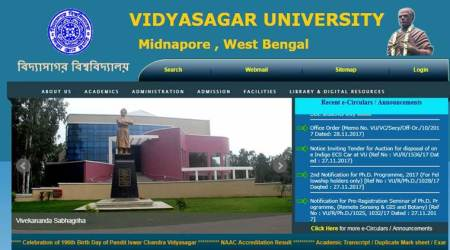 Vidyasagar University result 2017: Check BA, BSc, BCom Part 1 results at vidyasagar.ac.in