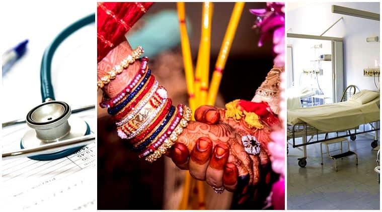 groom takes baaraat to hospital, groom bride baaraat hospital, bride groom married hospital, groom baaraat bride, bride groom, wedding, wedding india, indian express, indian express news