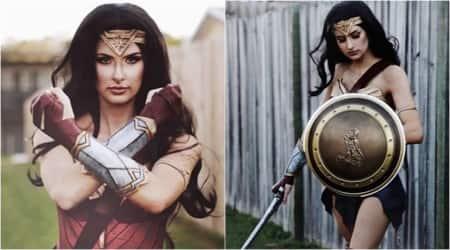 wonder women, make-up artist recreates wonder women costume, Gal Gadot, Gal Gadot's costume, how to make wonder women costume, Indian express, Indian express news
