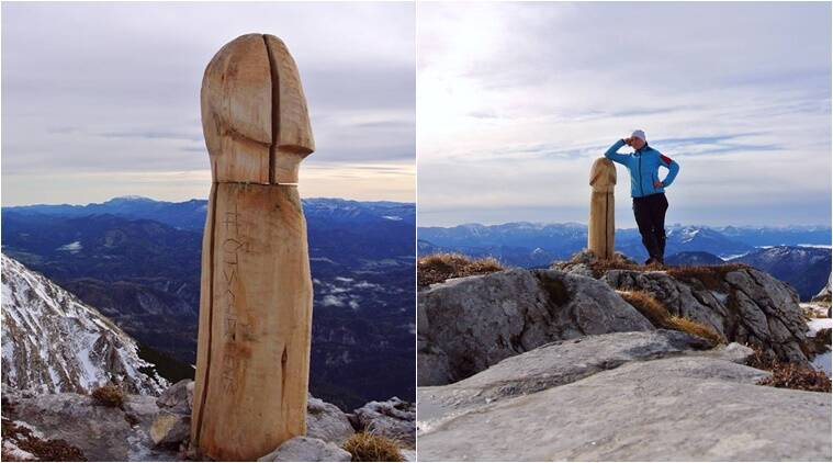wooden penis, penis, alps giant wood penis, giant wood penis mystery, the mystery behind the giant wood penis, giant wood penis pics, austria giant penis bizarre, indian express, indian express news