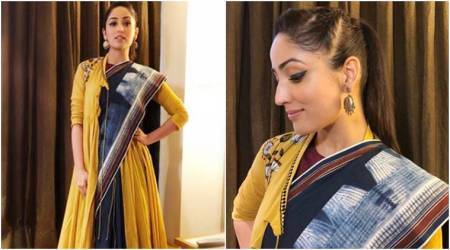 yami gautam, yami gautam fashion, International Children's Film Festival, yami gautam in International Children's Film Festival, yami gautam in sari, yami gautam in anju modi, anju modi, yami gautam style, yami gautam latest photos, yami gautam news, indian express, indian express news
