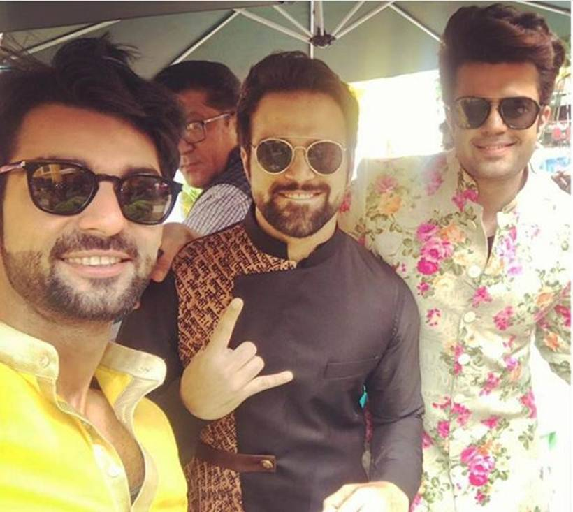 photos of karan wahi, rithvik dhanjani and maniesh paul at bharti singh wedding