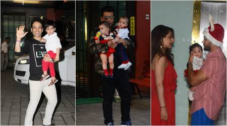photos of karan johar, soha ali khan and tusshar kapoor with their children at arpita khan party
