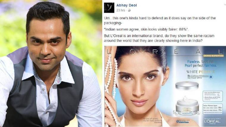 Abhay Deol wrote about actors for endorsing fairness products.