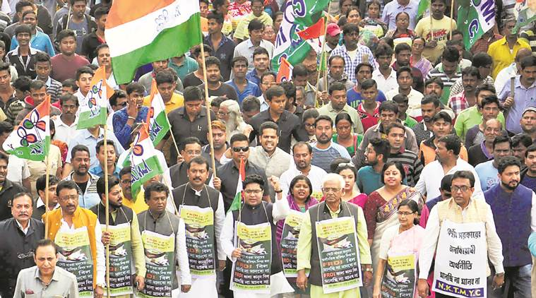 TMC protest against passing of FRDI bill in Parliament
