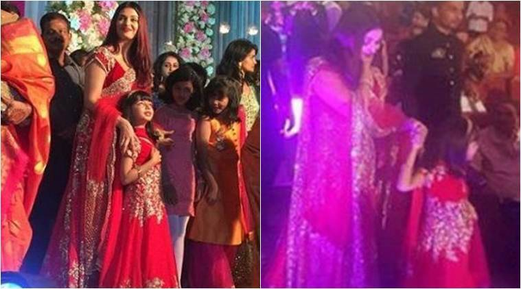 aishwarya rai bachchan and aaradhya at a wedding
