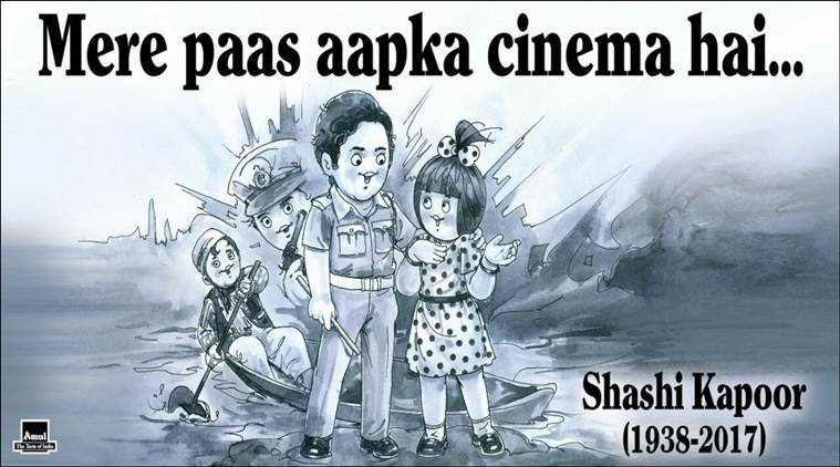 shashi kapoor, shashi kapoor death, shashi kapoor death tribute, shashi kapoor death amul tweet, shashi kapoor death tribute, indian express, indian express news