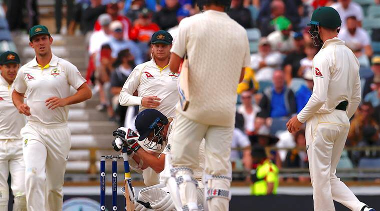 James Anderson after being hit on the helmet with a bouncer in Perth