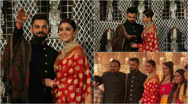 Anushka Sharma and Virat Kohli at their wedding reception in Delhi