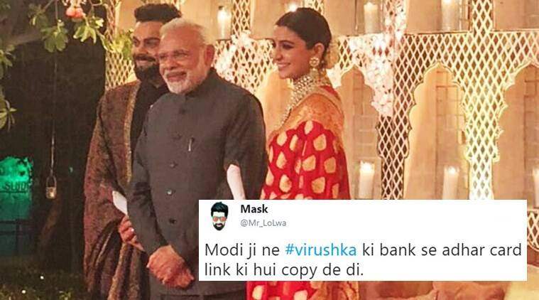 virat kohli anushka sharma, virat kohli anushka sharma reception pics, virat anushka reception, virat anushka reception pics, virat anushka photos, virat anushka photos from reception, virat anushka reception twitter reactions, indian express, indian express news
