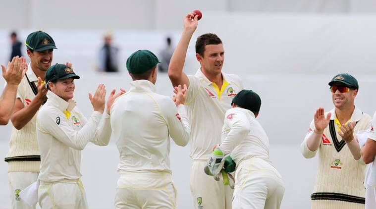 Josh Hazlewood takes in the applause after picking five wickets in the third Test