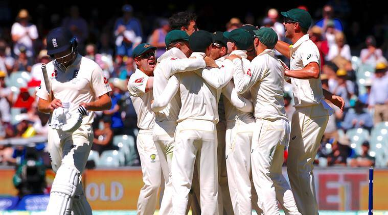 Australian team celebrates the Test match win in Adelaide