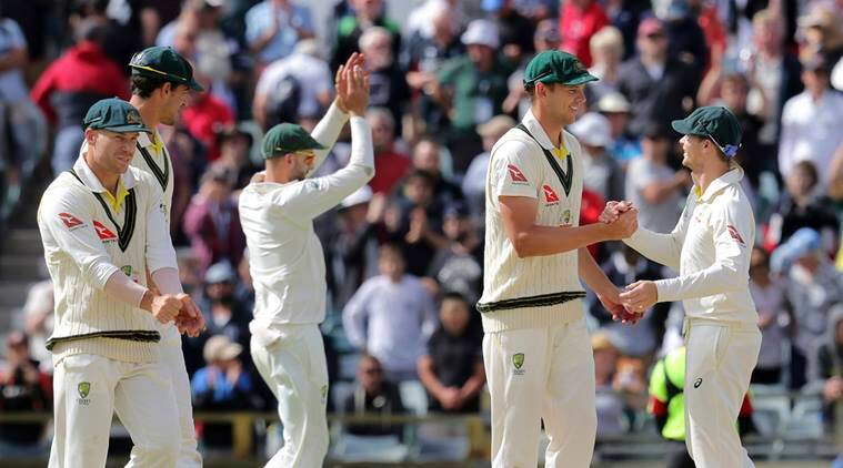 Steve Smith and fellow Australia players celebrate Ashes win