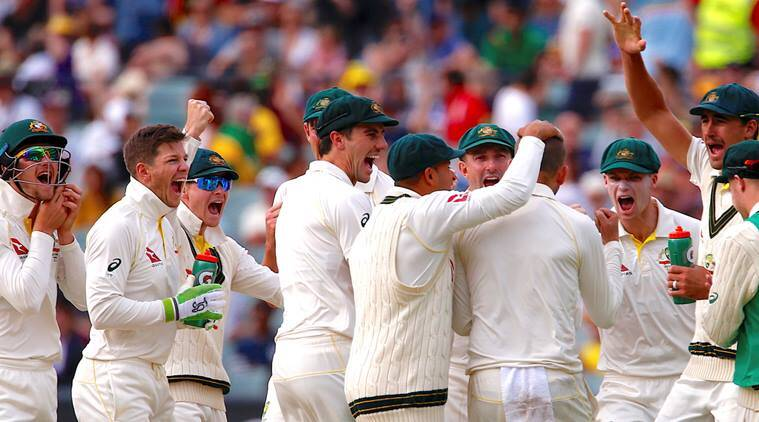 Australia players celebrate a fall of wicket on Day 4 of second Ashes Test