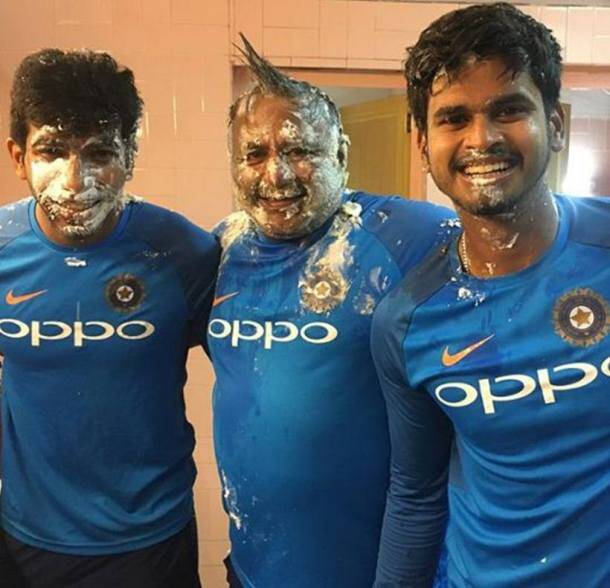 'Nobody spared' as team India celebrate Kuldeep Yadav, Bharat Arun's birthday
