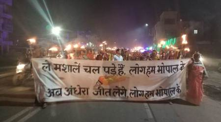 Survivors hold a march on Bhopal Gas Tragedyanniversary