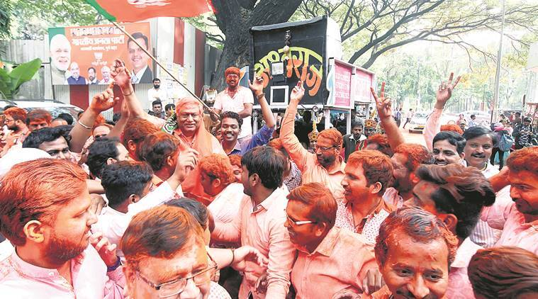BJP workers celebrate the assembly election results