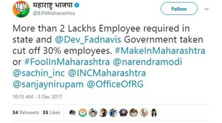 BJP tweet criticising Devendra Fadnavis govt goes viral, party says account was hacked
