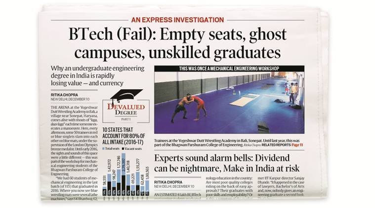engineering, engineering seats, empty engineering seats, btech colleges, karnataka engr colgs, aicte, technical education, express investigation, education news