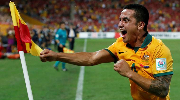 Tim Cahill celebrates scoring goal