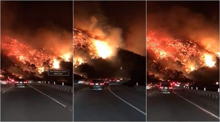 wildfire, california, LA wildfire, skirballfire, thomasfire, california highway wildfire, wildfire photos, california wildfire videos, viral videos, indian express