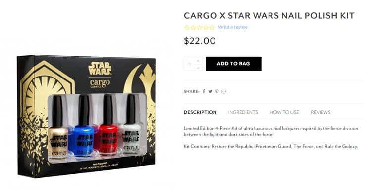 Star Wars Episode VIII: The Last Jedi, Cargo Cosmetics, Cargo X Star Wars, Cargo X Star Wars nail polish kit, Restore the Republic, Star Wars nail polish kit, Star Wars news, Star Wars latest updates, Star Wars movie, Star Wars, indian express, indian express news
