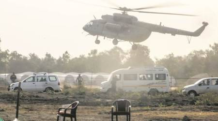 PM Modi rally sideshow: chopper, stacked chairs, and Audi