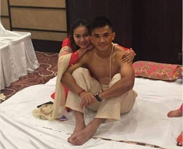 Sunil Chhetri at the haldi ceremony prior to the wedding