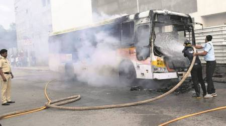 Pune: Fire breaks out in two PMPML buses, one gutted