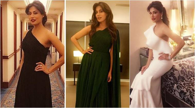 Chitrangada Singh wears a black one-shoulder gown from Halston Heritage.