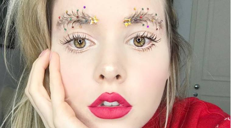 Weird eyebrow trends, christmas tree eyebrow trend, beauty trends 2017, weird eyebrow trends 2017, weird eyebrows, eyebrow trends 2017, christmas beauty trends, crown brows, squiggle eyebrows, dragon brows, feather brows, barbed wire brows, latest eyebrow trends, latest make-up trends, latest beauty trends, indian express, indian express news
