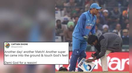 'Demi God for a reason': Twitterati fawn over viral video of fan touching MS Dhoni's feet during match against Sri Lanka