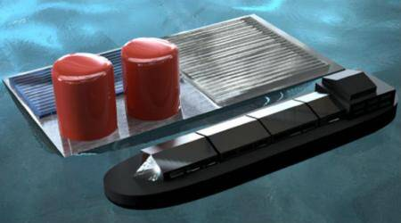 Floating solar cells, solar cell rig, hydrogen fuel, Columbia University, NASA mission fuel, steam methan ereforming, carbon dioxide emissions, electrolysis device, sunlight, sea floor, seawater electrolysis, agricultural uses