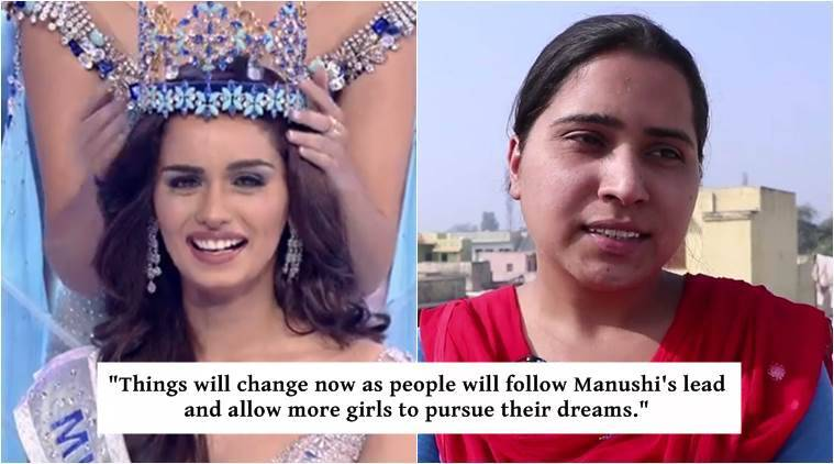 manushi chhillar, manushi chhillar miss world, manushi chhillar village, manushi chhillar original village, women at manushi chhillar's ancestral village, women in bamnoli, indian express, indian express news