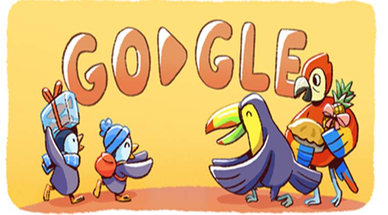 google doodle, december global festivities, christmas, google doodle on christmas, google doodle penguins, google doodle tis the season, indian express, indian express news