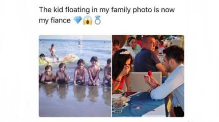 Guy spots himself photobombing fiancée's vacation photo - from 10 years ago!